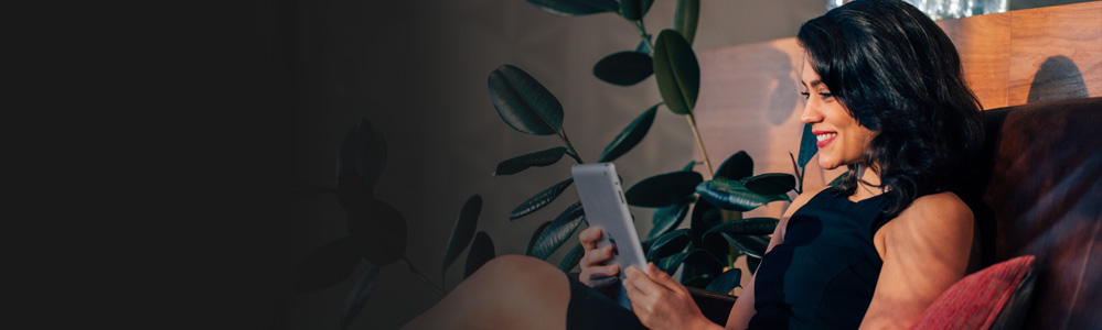 Stephanie using tablet