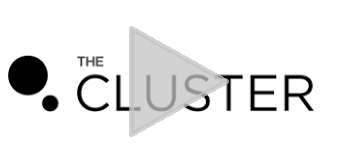 The Cluster logo with play button superimposed